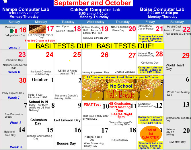 Week 5 Calendar:  Finish BASI Tests!